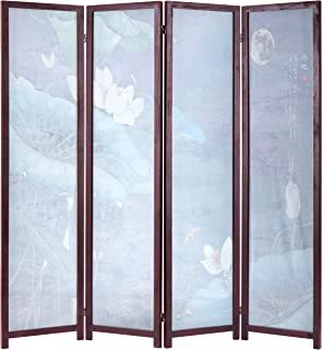 MyGift Decorative 4-Panel Japanese Lotus Transparent Screen, Folding Room Divider with Wood Frame