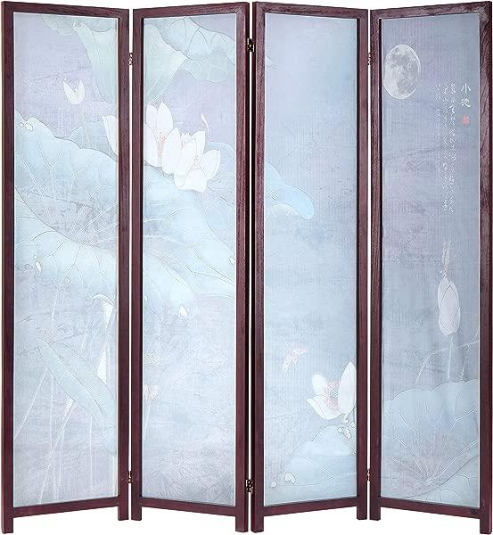 MyGift Decorative 4 Panel Japanese Lotus Transparent Screen Folding Room Divider With Wood Frame