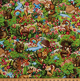 Cotton Cute Baby Animals Squirrel Bunny Fox Hedgehog Fawn Flowers Woodland Friends Kids Cotton Fabric Print by The Yard (D751.02)