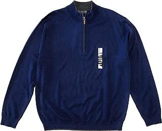 Men's Quarter Zip Extra Fine Merino Wool Sweater, Navy, Size L
