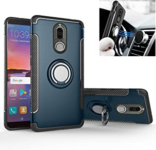 Mate 10 Lite/Nova 2i Case, Mingwei [with 360 ° Kickstand] Rotating Ring Case [Dual Shockproof] Protection Cover Compatible with [Magnetic Car Mount] for Huawei Mate 10 Lite (Navy, Mate 10 Lite)