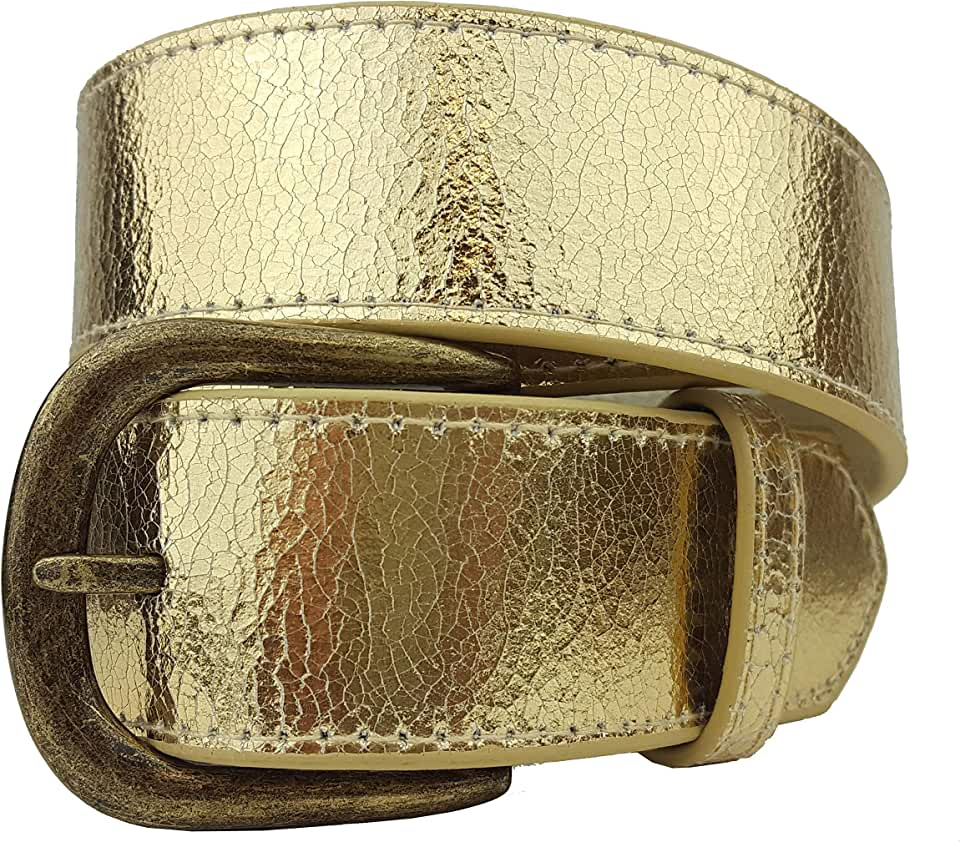 Rare Metallic Vintage Crack Leather Belt