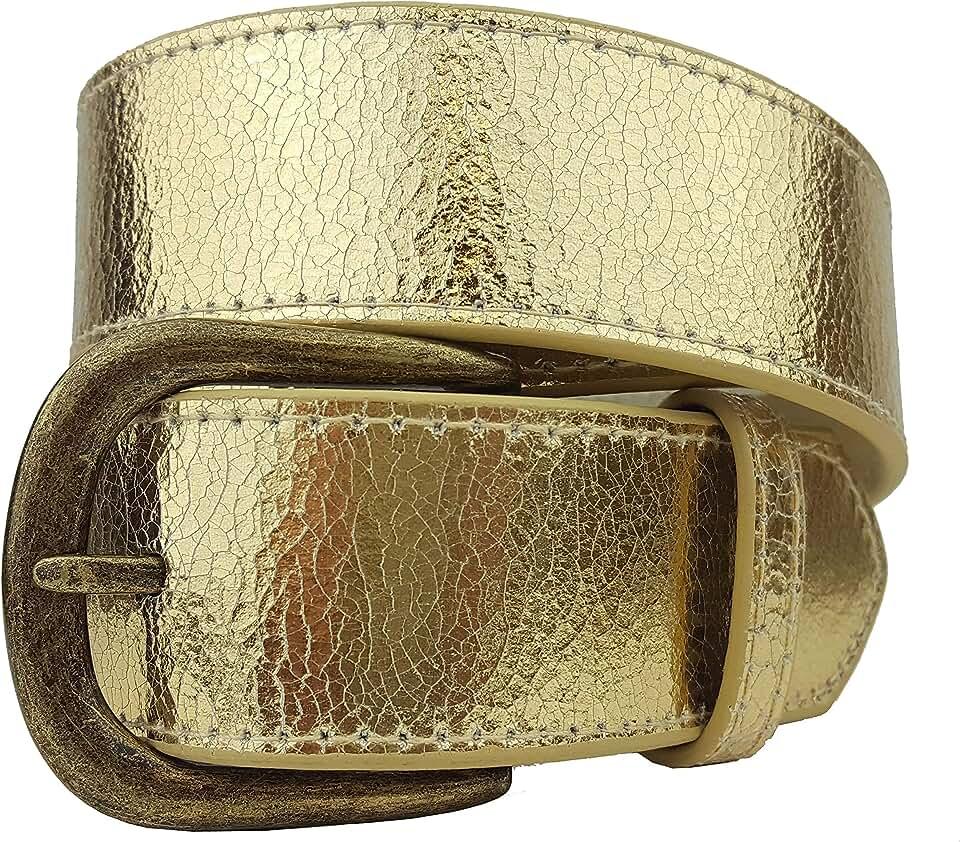 Rare Metallic Vintage Crack Leather Belt