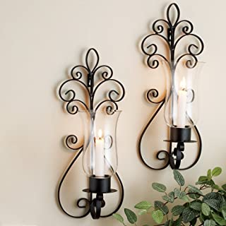 Set of Two Decorative Modern Black Metal Wall Sconce and Crackle Finished Hurricane Candle Holders, Wall Lighting - Perfect for a Living Room Dining Room or Entry Way (Brown)