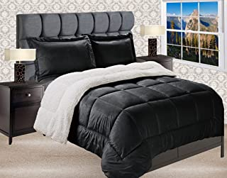Elegant Comfort Premium Quality Heavy Weight Micromink Sherpa-Backing Reversible Down Alternative Micro-Suede 3-Piece Comforter Set, King, Black