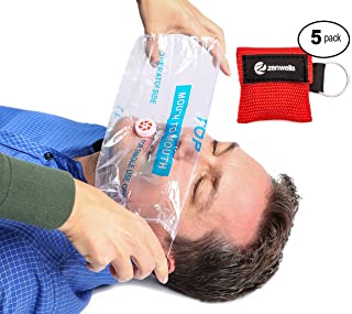 Rescue Mask Red (5 Pack) - CPR Mask Keychain with One Way Valve Breathing Barrier, Mouth to Mouth Masks CPR for Adults & Children, Small Portable Bag, Gifts for Survival, Travel & Outdoor Enthusiasts