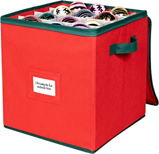 "Christmas Ornament Storage Container – Heavy Duty Non-Woven Material – Fits up to 64 Ornaments 3"" x 3"" – Durable Holiday X..."