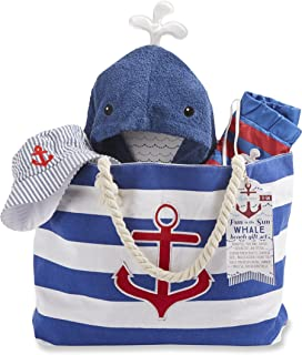 Unisex Baby Gift Basket with Bear: Set of 2 Cotton Tagless Onesie Blanket Rubber Ducky Set swaddling Fleece Blanket and a Receiving socks and more.
