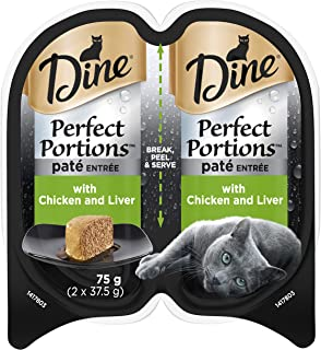 DINE Perfect Portions Wet Cat Food Chicken And Liver 75g, Adult, 24 Pack, One Size