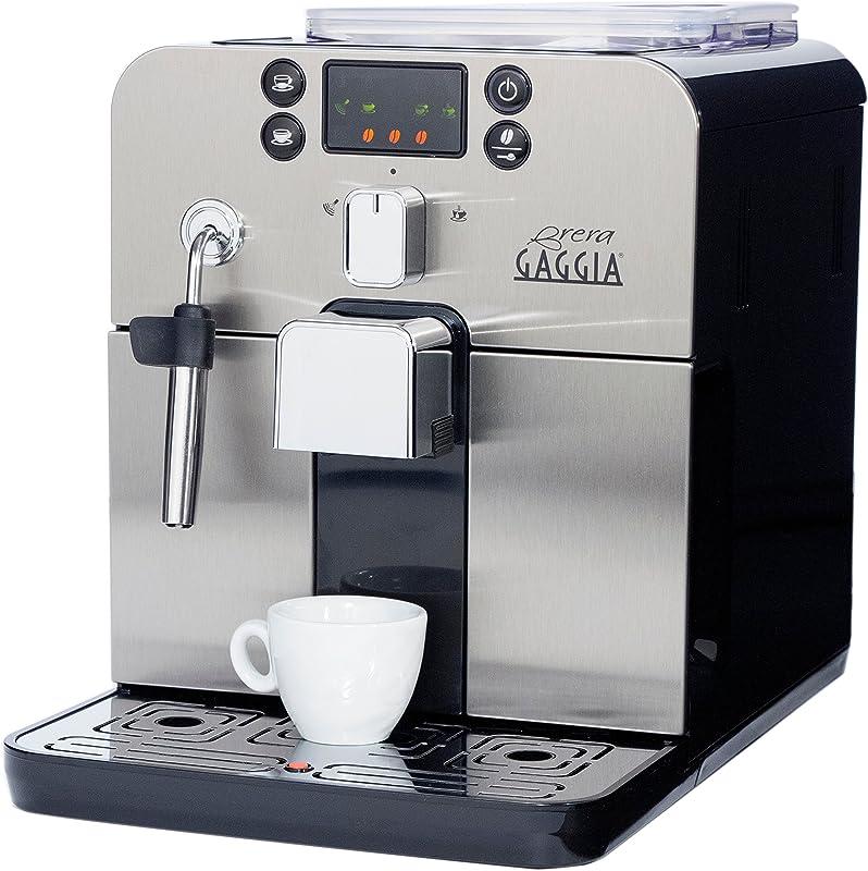 Gaggia Brera Super Automatic Espresso Machine In Black Pannarello Wand Frothing For Latte And Cappuccino Drinks Espresso From Pre Ground Or Whole Bean Coffee