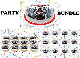 Assassin's Creed Party Supplies 3 Pc Set Including Edible Image Round Cake Topper Frosting Sugar Sheet, Personalized Cupcakes, Lollipops Decorations