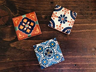 Rustic Mexican Talavera Hand-Painted 2x2 Ceramic Tile Fridge Magnets - Set of 3 - Designs Will Vary