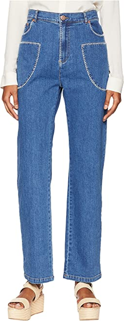 Bootcut Jeans with White Stitch in Shady Cobalt