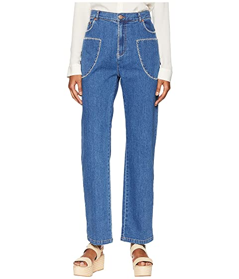 See by Chloe Bootcut Jeans with White Stitch in Shady Cobalt