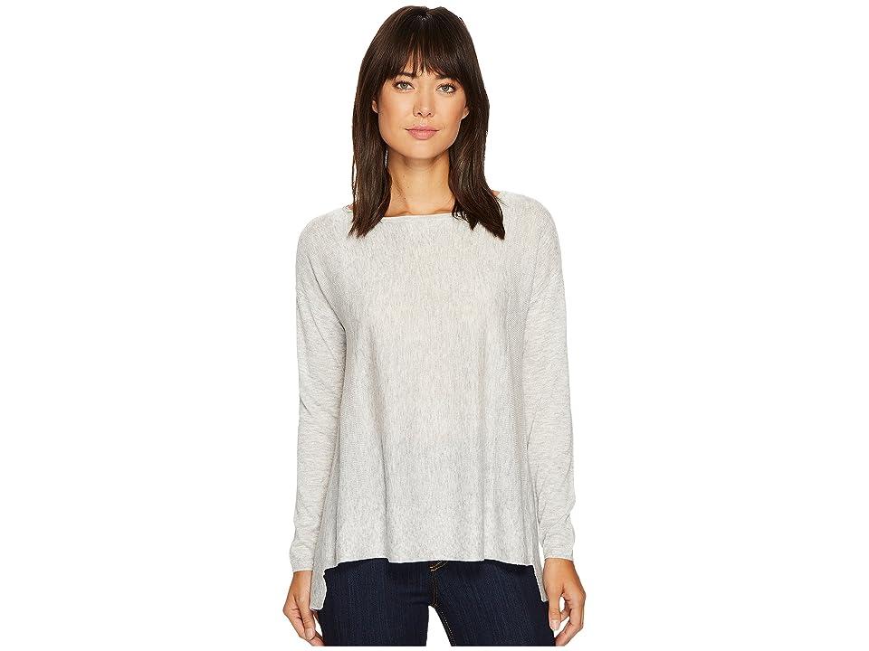 NYDJ Boat Neck Sweater w/ Split Back (Light Heather Grey) Women