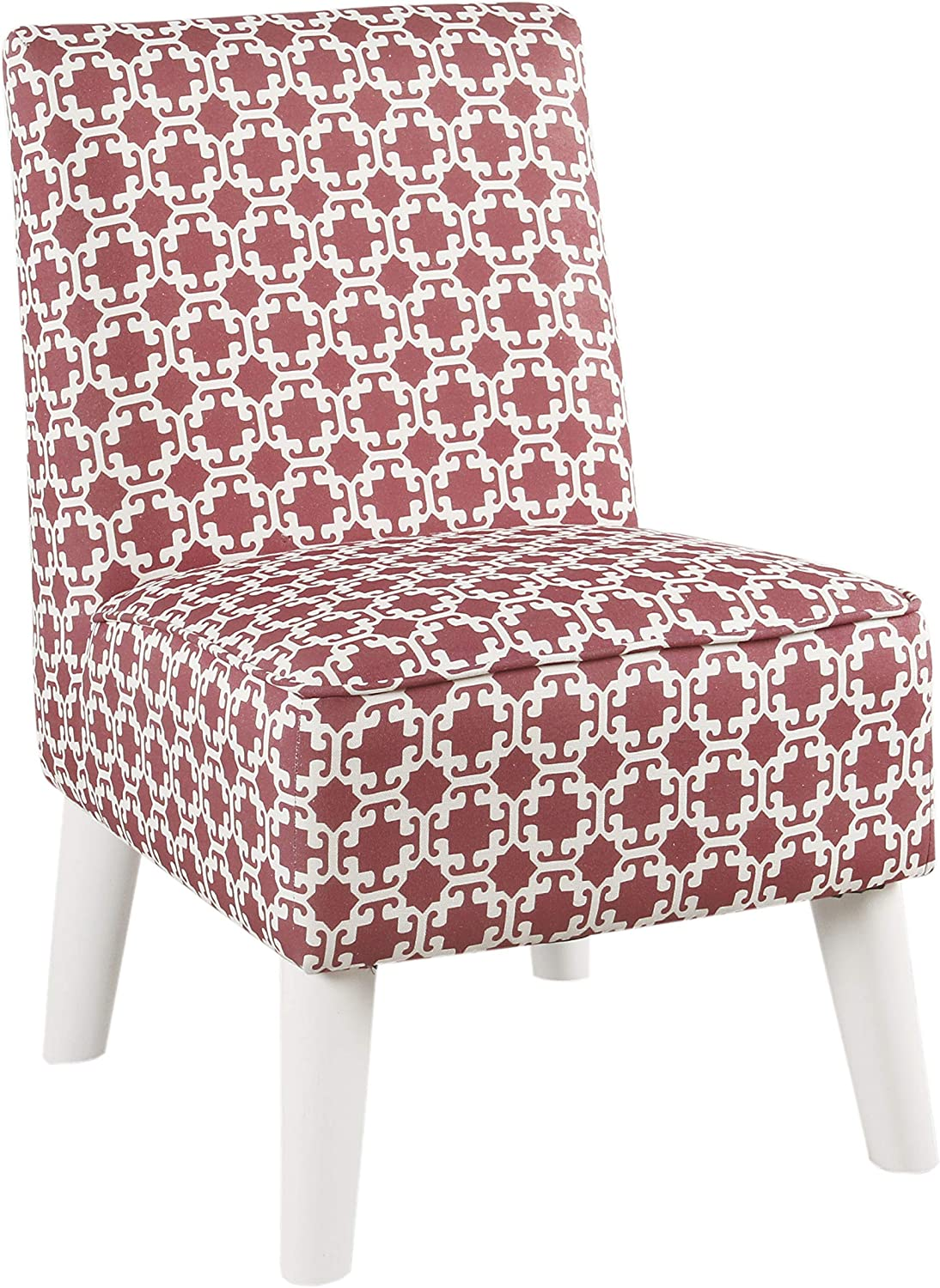 Benjara BM195746 Lattice Print Fabric Upholstered Kids Slipper Chair with Splayed Wooden Legs, Pink and White