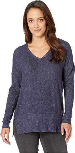 V-Neck Hacci Top w/ Rib Sleeves