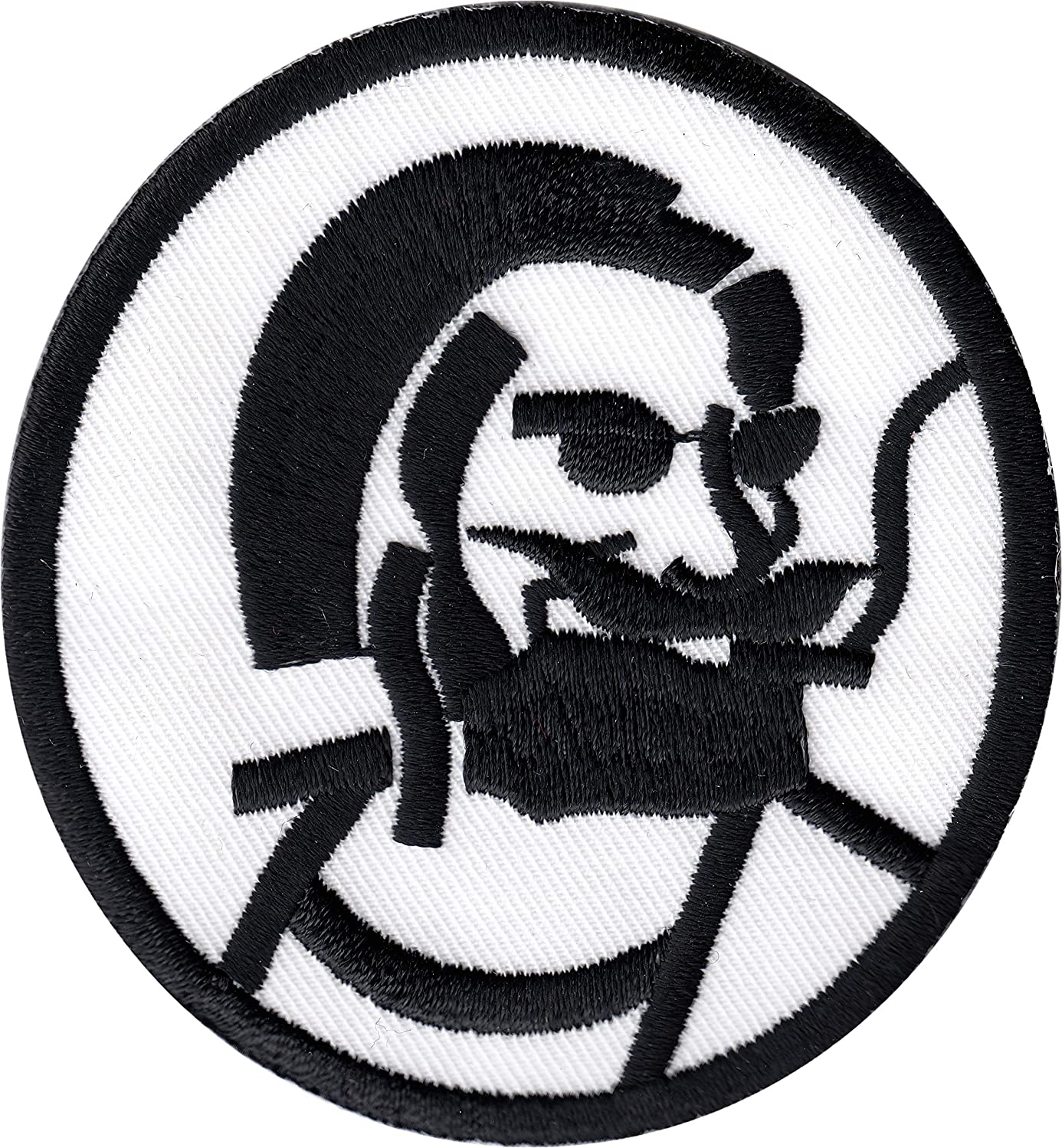 Zig Zag Man - Black Design and Border on White Background - Embroidered Iron On Or Sew On Patch