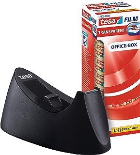 tesa Easy Cut Curve Tischabroller rutschfest, einfache Handhabung, sauberer Schnitt mit 8 Rollen tesafilm transparent 33m x 19mm