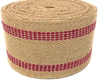 Jute Webbing for Upholstery & Crafts (Red Stripe, 12 Yards)