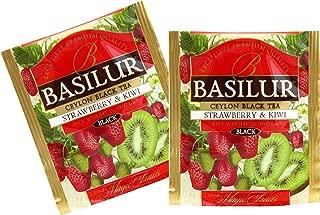 Basilur | Strawberry & Kiwi | Food Service Packs | Single Origin Black Tea with Real Strawberry and Kiwi| 100% Pure Natural Tea | 100 Count Foil Enveloped Tea Bags | Pack of 100
