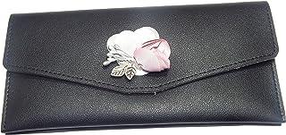 NPRC Girls and Women Designer Long Brown Clip Wallet (Black)