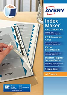 AVERY - Kit d'intercalaires IndexMaker non perforés 12 touches, Page de sommaire et onglets personnalisables et imprimable...