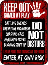 HDG Designs Keep Out Gamer at Play Do Not Disturb Enter at Own Risk 9 inch x 12 inch Tin Metal Aluminum Wall Sign Made in the USA
