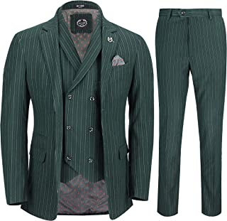 Mens 3 Piece Suit Forest Green Pinstripe Retro 1920s Tailored Fit Jacket Waistcoat Trouser
