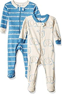 Gerber Baby-Boys Organic 2 Pack Cotton Footed Unionsuit Sleepers