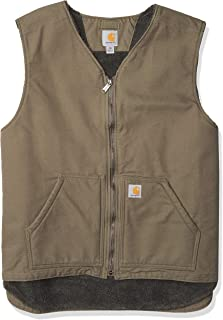 mens Relaxed Fit Washed Duck Sherpa-lined Vest