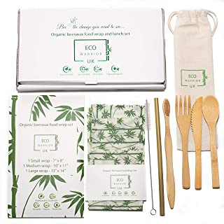Organic Lunch Set Beeswax Wraps and Bamboo Cutlery Pouch | Zero Waste Eco Friendly Gift | Picnic | School lunch | Work lunch | Lunch box