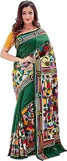 SareesofBengal Women's Pure Silk Handloom Kantha Stitch Saree Bottle Green