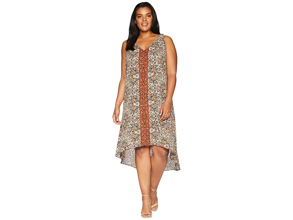 Karen Kane Plus Plus Size V-Neck Hi Lo Dress (Print) Women