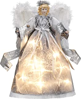 Valery Madelyn 15.8 Inch Frozen Winter Silver White Christmas Angel Tree Topper, Angel Tree Top with 10 Warm LED Lights, Battery Operated (Not Included)