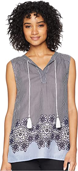 Ava Chambray Floral Stripe Sleeveless Blouse