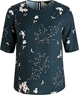 Chicwe Women's Plus Size Floral Print Top Blouse with Keyhole Neck 1X-4X