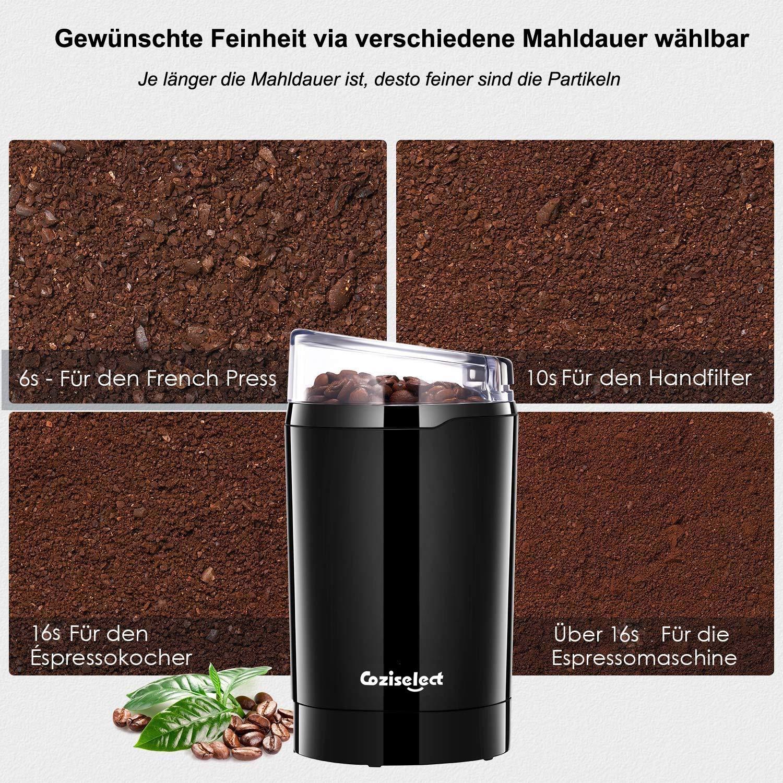 especias granos o frutos secos capacidad 70gr Molinillo compacto de caf/é Aigostar Oval 30QOW cepillo de limpieza cuchillas de acero inoxidable antidesgaste semillas 200W Libre de BPA.