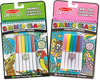 Melissa & Doug On The Go Stained Glass Fairy Tale/Animals Coloring Pad (2 Pack)