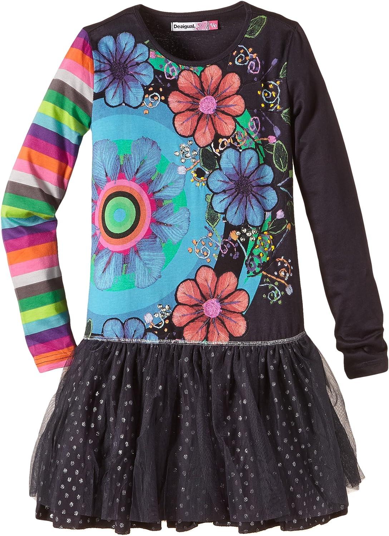 Desigual Big Girls' Long Sleeve Dress with Tulle Skirt