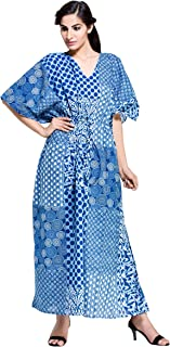 Indian Bohemian Long Kaftan Plus Size Women Dress Caftan Hippy Casual Beach Wear Caftan