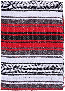 El Paso Designs Genuine Mexican Falsa Blanket - Yoga Studio Blanket, Colorful, Soft Woven Serape Imported from Mexico (Red)