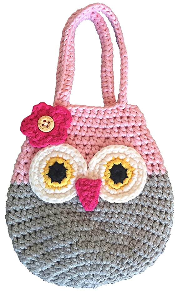 Sarah & Victoria Happy Owl Mini Purse, Adorable Pink & Grey First Handbag for Little Girls, 100% Handmade, Natural Soft Cotton, Crochet, Great 2, 3, 4, 5 Year Old Girl Gifts, Birthday Fun & So Cute!