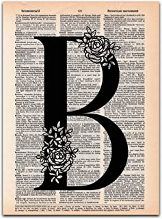 B - Monogram Wall Decor, Letter Wall Art, Dictionary Page Art Print, 8x11 UNFRAMED