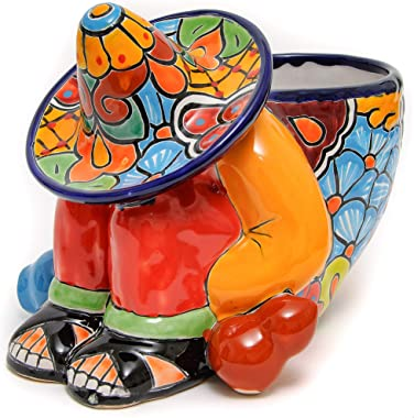 Enchanted Talavera Mexican Pottery Siesta Flower Pot Hand Painted Ceramic Plant Pot Planter Indoor Outdoor Porch Flower Vase