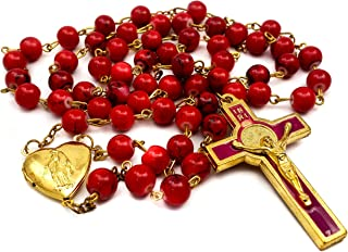 Nazareth Store Red Coral Beads Rosary Necklace Catholic Saint Benedict Chaplet Heart Locket Medal & Cross Religious Amulet...