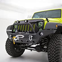 Restyling Factory -Full Width Front Bumper With Fog Lights Hole and Winch Plate-Textured Black for 07-17 Jeep Wrangler JK