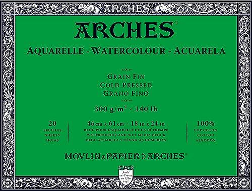 Arches 1795064 Aquarellpapier im Block (46 x 61 cm, 4-seitig geleimt, 300g m2 Feinkorn) 20 Blatt naturWeiß