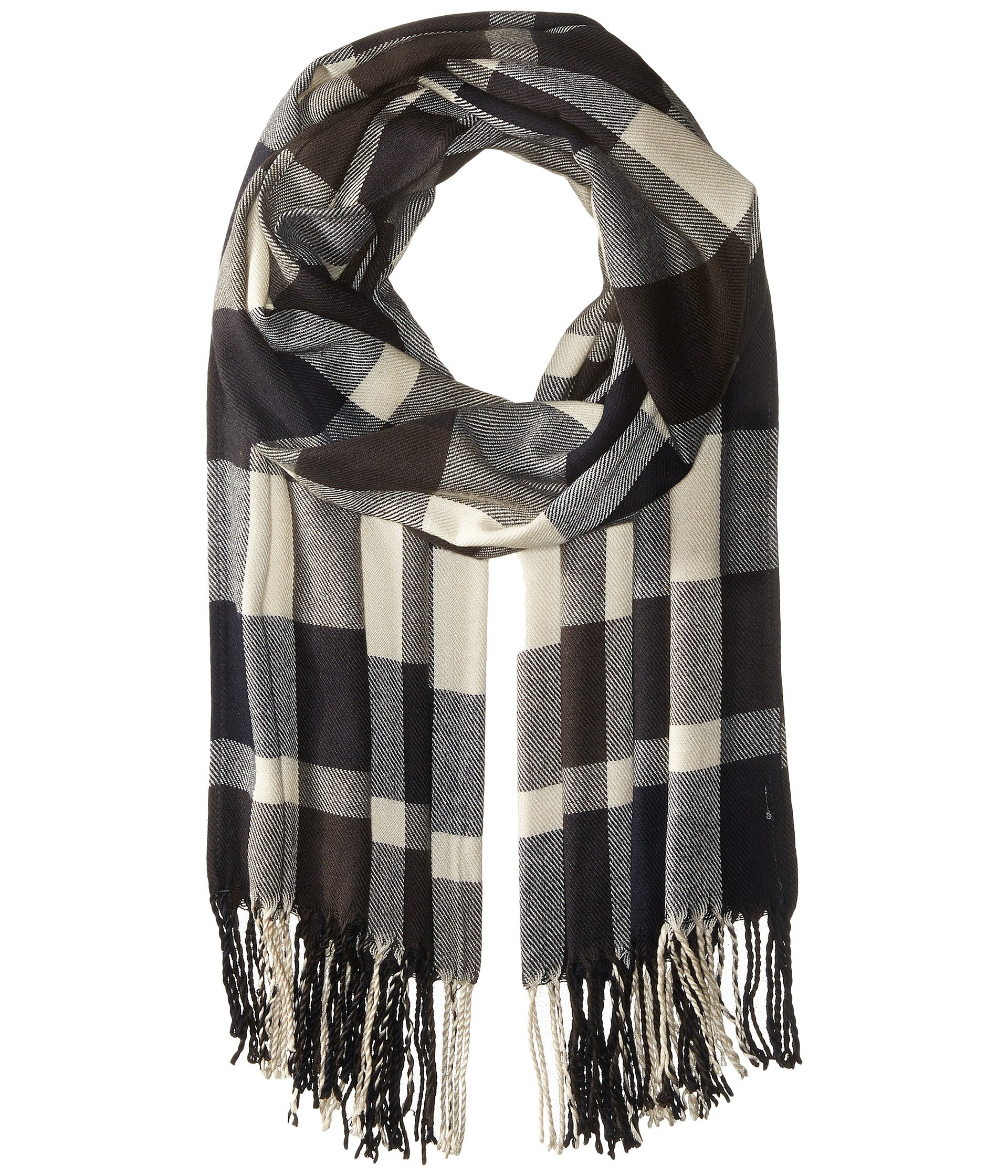 Plush Ultra Soft Fleece Plaid Scarf, NAVY/CHARCOAL WHITE