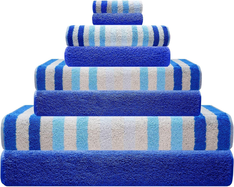Lashuma Handtuch Set 8 teilig Blau     2X Seiflappen 15 x 21 cm     2X Gstetuch 30 x 50 cm     2X Frottiertuch 50 x 100 cm     2X Badetuch 70 x 140 cm